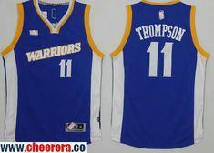 8d270a3c3e9 Men s Golden State Warriors  11 Klay Thompson Blue Retro Stitched NBA 2016  Adidas Revolution 30 Swingman Jersey