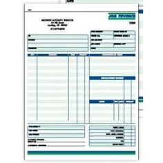 2 Part Job Invoice Form Ruled