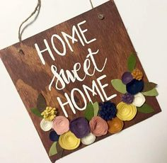 Hand painted wood sign with felt flowers; great alternative to a fall wreath