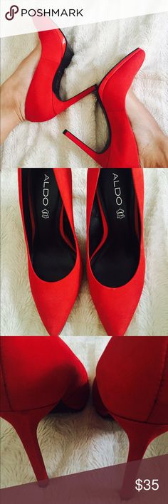 Red Aldo Pointed-Toe Pumps Very sexy Red heels. In very nice condition, worn only twice. Perfect for a date night with a dress, or girls night with distressed denim. ALDO Shoes Heels
