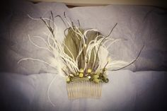 Natural Green and Feather Bridal Hair Comb