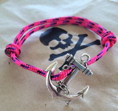 Pink Anchor Pirate Bracelet handmade by Captain Moo.