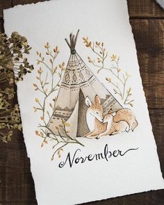 Mother and Fawn Watercolor  Blank and November Printables for | Etsy