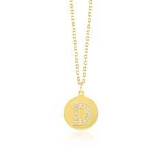 Made Simply Boutique's Round Necklace in Yellow Gold, Letter D