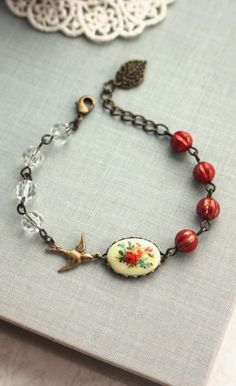 Vintage Floral Bouquet Bird Bracelet. Rustic Wedding,Red Melon Glass Beads Adjustable Bracelet | By Marolsha.