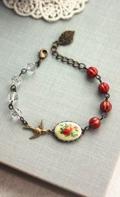 Vintage Floral Bouquet Bird Bracelet. Rustic Wedding,Red Melon Glass Beads Adjustable Bracelet   By Marolsha.
