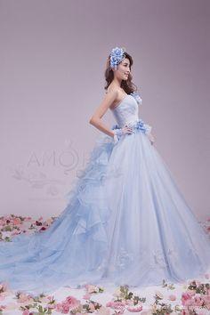 ウェディングドレス、ウエディングドレス、カラードレス、お花 Blue Wedding Gowns, Colored Wedding Dresses, Bridal Dresses, Fairytale Dress, Fairy Dress, Lovely Dresses, Beautiful Gowns, Elegant Ball Gowns, Gowns For Girls
