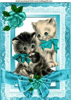 Vintage kitties in turq lace frame with bow roses A4 on Craftsuprint - Add To Basket!
