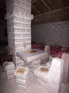 Dining place at Hotel de Sal, near Colchani, Bolivia, a hotel entirely made from salt
