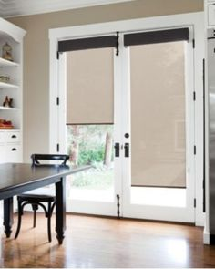 Image Of French Doors With Blinds And Dog Door