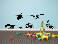 Dragon Collection Wall Art - Cute How To Train Your Dragon Wall Art Collection Kids Playroom Bedroom Wall Art Collection. $28.00, via Etsy.