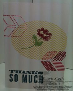 Fast and easy card. Using the Oh Hello stamp set, Note Cards and Envelopes, along with the five 2012-2014 Stampin' Up! InColors. http://stampingwithdawn.blogspot.com/2013/01/express-card-class.html