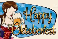 Happy Pretty Woman Celebrating Oktoberfest with a Stein Free Vector Art, Pretty Woman, Beauty Women, Banner, Celebrities, Illustration, Happy, Fun, Oktoberfest