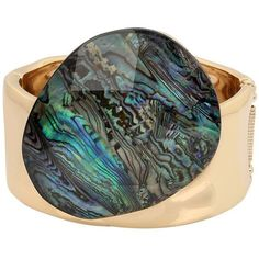 Robert Lee Morris Soho Midnight Hour Abalone and Black Crystal... (2 745 UAH) ❤ liked on Polyvore featuring jewelry, bracelets, stone, crystal bangles, crystal stone jewelry, statement bracelet, magnet jewelry and abalone jewelry