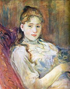 Berthe Morisot (1841-1895) | Junges Mädchen mit Katze | 1892