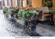 beautifully decorated cafe on the street.