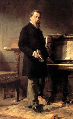 Amilcare Ponchielli (1834-1886), painting (1885), by Eleuterio Pagliano (1826-1903).