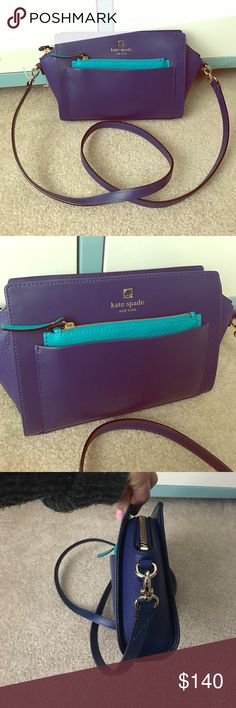 Flash sale 💥💥Kate Spade cross body Brand new without tags! Still has plastic tag holder but tag fell off. Perfect condition, deep cobalt blue with a pop of teal in the front zipper, soft leather and very flexible to open and fit things into. Reg $298 make me an offer! kate spade Bags Crossbody Bags