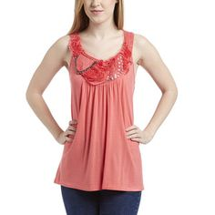 Simply Irresistible Coral Embellished Tank