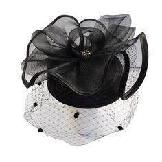 Satin Braid Pillbox Hat with Netting Veil