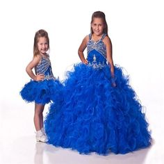 Find More Flower Girl Dresses Information about Fashion 2015 Lovely Blue Two pieces Flower Girl Dresses With Ruffle Layer Crystal Organza Girl's Pageant Dresses Gowns AB61,High Quality dresses dolls,China dress family Suppliers, Cheap dress gala from Suzhou Romantic Wedding Dress Co. Ltd on Aliexpress.com