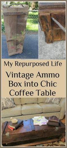 My Repurposed Life-Vintage Ammo Box upcycled into a great coffee table with lots of storage.  Small casters make it easy to move around.