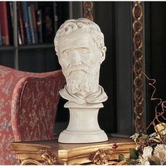 Design Toscano Michelangelo Buonarroti Bust *** Check out this great article. Michelangelo, Gian Lorenzo Bernini, Classical Antiquity, Crushed Stone, Baroque Fashion, Home Decor Furniture, Decorative Objects, Lion Sculpture, Antiques