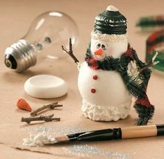 Lightbulb Snowman Craft  #Christmas