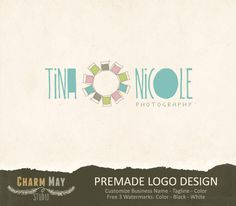 Premade Photography Logo and Watermark - Custom Premade Logo  -  Custom Business Logo Design - Photography Props. $24.00, via Etsy.    Love the font and the colours - particularly the Aqua