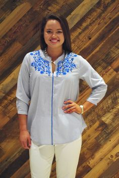 1c2843a8623723 The Anna Top in Blue Pin Stripe. The Elliott Top in Blue Pin Stripe - Liza  Byrd Boutique