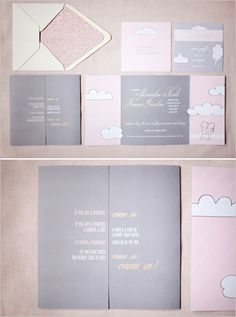 pink and grey wedding invites inspired by Shel Silverstein designed by http://www.weswendesign.com/
