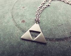 Triforce Legend of Zelda Pendant Necklace, Golden Triangle, Triforce Power of the Gods Triforce. $17.00, via Etsy. (I WANT)