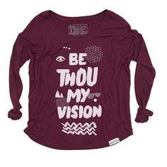 Be Thou My Vision Maroon Women's Flowy Longsleeve T-Shirt | walk in love.