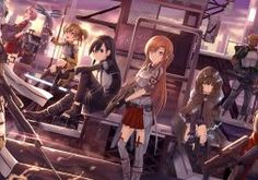 sword art online apron armor blue eyes blue hair boots city gloves group gun headband kneehighs long hair pink eyes riki to scarf stairs sword twintails weapon