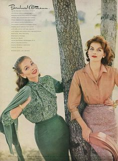 I'd happily wear either outfit in a heartbeat. #blouse #skirt #1950s #fashion #vintage