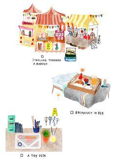 Tiny pleasures, illustrated by Deborah van der Schaaf for the Flow Calendar 2016 Illustration Inspiration, Illustration Art, Cute Drawings, Pencil Drawings, Drawing Faces, Beautiful Drawings, Pinterest Design, Sketches Of Love, Grafik Design