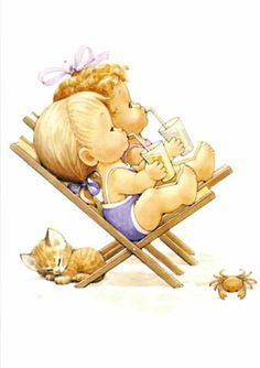 Baby kittens and baby babies. Illustration Mignonne, Cute Illustration, Sarah Kay, Cute Images, Cute Pictures, Art Mignon, Image Digital, Baby Painting, Holly Hobbie