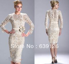 Gorgeous Mother Of The Bride Dress Lace Evening Dress Knee Length Bride Dresses 3/4 Sleeves Mother Of The Bride Dress US $99.99.          #Aliexpress #Mother of the Bride #Lace