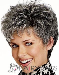 Discount Short Straight Gray 8 Inch Indian Remy Hair Wigs