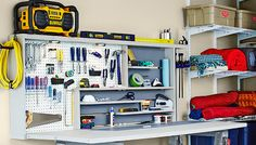 DESK INSPIRATION || http://www.lowes.com/creative-ideas/organize-store-and-move/fold-up-work-center-with-tool-storage/project