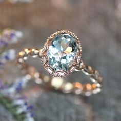 14k Rose Gold Floral Aquamarine Engagement Ring in by LaMoreDesign