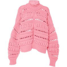 Isabel Marant Zoe Oversized Knit Top (3.405 RON) ❤ liked on Polyvore featuring tops, sweaters, pink, chunky cable knit sweater, cable sweaters, chunky oversized sweater, over sized sweaters and oversized sweater