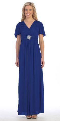 Long V Neck Semi Formal Dress Silver Chiffon Matt Jersey Short Sleeve Royal Blue Formal Dresses, Blue Dresses For Women, All About Fashion, Formal Wear, I Dress, Royals, Dresser, Gq, Fashion Dresses