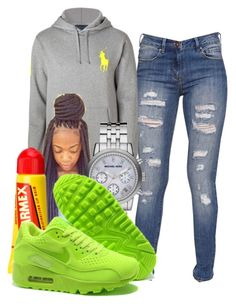 """♔"" by beauty-star-babydoll930 ❤ liked on Polyvore featuring moda, Bullhead Denim Co., Michael Kors, Carmex e NIKE"