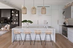 Cammeray Family Home - The Kitchen in my Cammeray project stealing the show! My favourite piece those rattan pendants whic - Home Decor Kitchen, Kitchen Living, Home Kitchens, Small Kitchens, Modern Kitchen Design, Interior Design Kitchen, Interior Decorating, Kitchen Pendants, Modern Pendant Lighting Kitchen