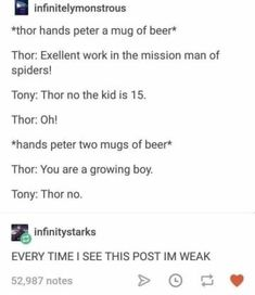 When Peter Parker met Thor: 24 Marvel Moments That You Didn't See, But For Sure Took Place Avengers Humor, Marvel Jokes, Funny Marvel Memes, Dc Memes, The Avengers, Funny Memes, Hilarious, Avengers Headcanon, Avengers Poster