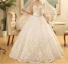 Ball Gown Wedding Dresses, Lace-Up Wedding Dresses, Beading Wedding Dresses, Floor-Length Wedding Dresses, Applique Wedding Dresses, Hot Sale, Custom Wedding Dresses