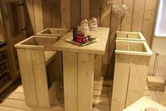 Out door bar stool set and table from pallets.
