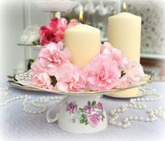 vintage china, candles and flowers