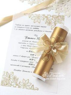Handmade Gold Scroll Invitation, Flower Wedding Invitation Scroll via… Handmade Wedding Invitations, Gold Wedding Invitations, Wedding Invitation Wording, Invitation Design, Wedding Stationery, Wedding Cards, Scroll Invitation, Flower Invitation, Wedding Details